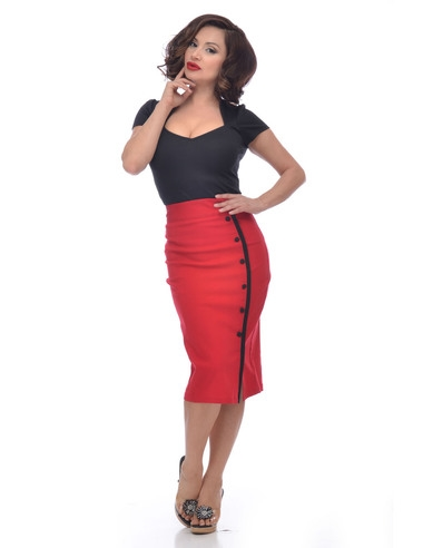 Sarina Button slit skirt red
