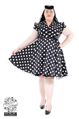 Black White Polkadot Tea dress