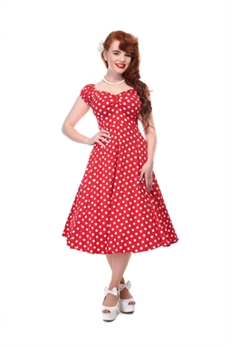 Dolores Doll Dress Red Polka