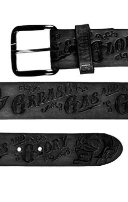 Grease, Gas and Glory black leather belt