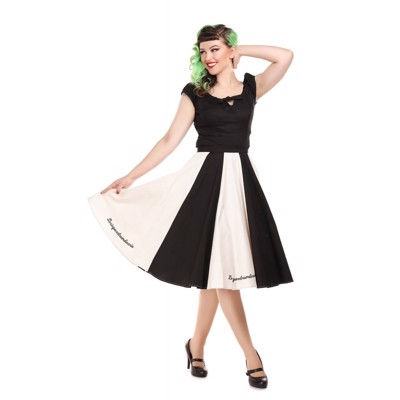 Collectif Lola Le Cirque Swing Skirt Black/Ivory