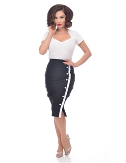 Sarina Button slit skirt Black